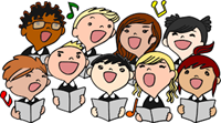 Students singing in a choir
